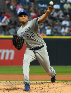 Jul 22, 2014; Chicago, IL, USA; Kansas City Royals starting pitcher Bruce  Chen (52) throws a pitch against the Chicago White Sox during the first inning at U.S Cellular Field. Mandatory Credit: Mike DiNovo-USA TODAY Sports