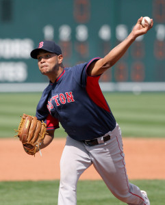 Mar 12, 2015; Bradenton, FL, USA; Boston Red Sox starting pitcher Eduardo Rodriguez (79) throws a pitch during a spring training baseball game at McKechnie Field. The Boston Red Sox beat the Pittsburgh Pirates 6-2. Mandatory Credit: Reinhold Matay-USA TODAY Sports