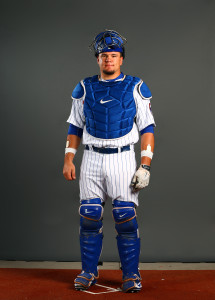 Mar 2, 2015; Mesa, AZ, USA; Chicago Cubs catcher Kyle Schwarber poses for a portrait during photo day at the training center at Sloan Park. Mandatory Credit: Mark J. Rebilas-USA TODAY Sports