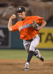 Aug 27, 2014; Anaheim, CA, USA; Miami Marlins reliever Steve Cishek (31) delivers a pitch against the Los Angeles Angels at Angel Stadium of Anaheim. The Angels defeated the Marlins 6-1. Mandatory Credit: Kirby Lee-USA TODAY Sports