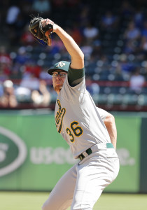 Jun 25, 2015; Arlington, TX, USA; Oakland Athletics pitcher Tyler Clippard (36) pitches in the ninth inning against the Texas Rangers at Globe Life Park in Arlington.  The Athletics beat the Rangers 6-3. Mandatory Credit: Matthew Emmons-USA TODAY Sports