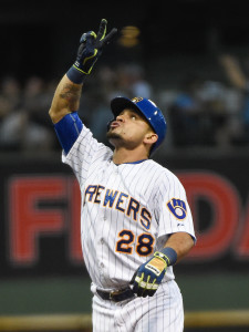 Jul 17, 2015; Milwaukee, WI, USA;  Milwaukee Brewers left fielder Gerardo Parra (28) reacts after driving in a run with a double in the fifth inning against the Pittsburgh Pirates at Miller Park. Mandatory Credit: Benny Sieu-USA TODAY Sports