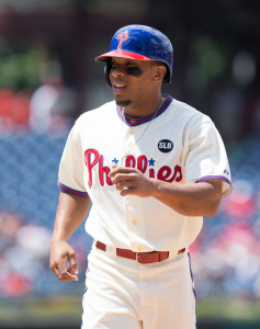 Jul 22, 2015; Philadelphia, PA, USA; Philadelphia Phillies left fielder Ben Revere (2) in a game against the Tampa Bay Rays at Citizens Bank Park. The Phillies won 5-4 in the tenth inning. Mandatory Credit: Bill Streicher-USA TODAY Sports