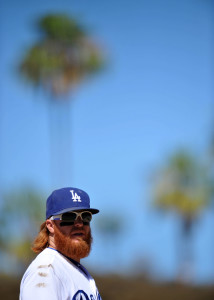 July 12, 2015; Los Angeles, CA, USA; Los Angeles Dodgers third baseman Justin Turner (10) during a stoppage in play in the ninth inning against the Milwaukee Brewers at Dodger Stadium. Mandatory Credit: Gary A. Vasquez-USA TODAY Sports