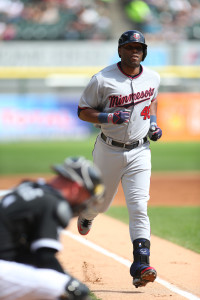 Sep 13, 2015; Chicago, IL, USA; Minnesota Twins right fielder Torii Hunter (48) runs for home after hitting a three run home run during the first inning against the Chicago White Sox at U.S Cellular Field. Mandatory Credit: Caylor Arnold-USA TODAY Sports