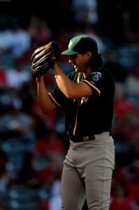 September 30, 2015; Anaheim, CA, USA; Oakland Athletics starting pitcher Barry Zito (75) pitches the first inning against the Los Angeles Angels at Angel Stadium of Anaheim. Mandatory Credit: Gary A. Vasquez-USA TODAY Sports