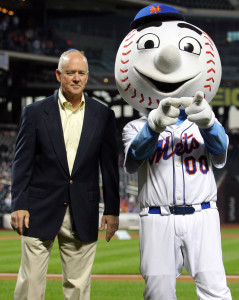Sep 26, 2014; New York, NY, USA; New York Mets general manager Sandy Alderson on the field with mascot Mr. Met before a game against the Houston Astros at Citi Field. Mandatory Credit: Brad Penner-USA TODAY Sports