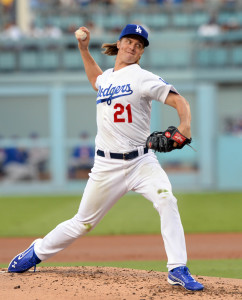 October 15, 2015; Los Angeles, CA, USA; Los Angeles Dodgers starting pitcher Zack Greinke (21) pitches the second inning against New York Mets in game five of NLDS at Dodger Stadium. Mandatory Credit: Richard Mackson-USA TODAY Sports