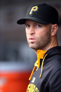 Sep 30, 2015; Pittsburgh, PA, USA; Pittsburgh Pirates pitcher J.A. Happ (32) looks on from the dugout against the St. Louis Cardinals during the sixth inning at PNC Park. Mandatory Credit: Charles LeClaire-USA TODAY Sports