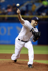 Jun 29, 2015; St. Petersburg, FL, USA; Tampa Bay Rays starting pitcher Nathan Karns (51) throws a pitch during the third inning against the Cleveland Indians at Tropicana Field. Mandatory Credit: Kim Klement-USA TODAY Sports