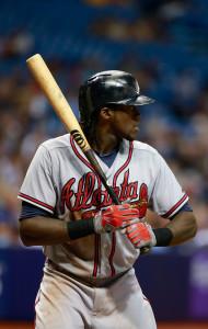 Aug 12, 2015; St. Petersburg, FL, USA; Atlanta Braves center fielder <a rel=