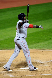 Oct 2, 2015; Cleveland, OH, USA; Boston Red Sox designated hitter David Ortiz (34) hits a home run during the fourth inning against the Cleveland Indians at Progressive Field. Mandatory Credit: Ken Blaze-USA TODAY Sports