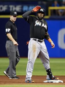 Sep 29, 2015; St. Petersburg, FL, USA; Miami Marlins center fielder <a rel=