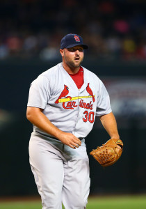 Aug 27, 2015; Phoenix, AZ, USA; St. Louis Cardinals pitcher Jonathan Broxton against the Arizona Diamondbacks at Chase Field. Mandatory Credit: Mark J. Rebilas-USA TODAY Sports