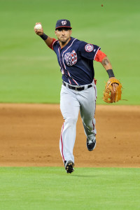 Sep 11, 2015; Miami, FL, USA; Washington Nationals shortstop Ian Desmond (20) throws over to first base during the eighth inning against the Miami Marlins at Marlins Park. The Marlins won 2-1. Mandatory Credit: Steve Mitchell-USA TODAY Sports