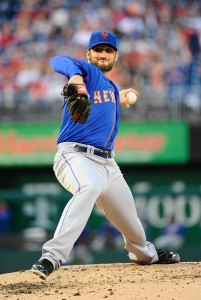 May 16, 2014; Washington, DC, USA; New York Mets starting pitcher Jon Niese (49) throws during the second inning against the Washington Nationals at Nationals Park. Mandatory Credit: Brad Mills-USA TODAY Sports