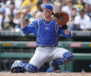 Sep 14, 2014; Pittsburgh, PA, USA; Chicago Cubs catcher John Baker (12) calls for time-out against the Pittsburgh Pirates during the second inning at PNC Park. Mandatory Credit: Charles LeClaire-USA TODAY Sports