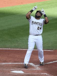 Oct 4, 2015; Pittsburgh, PA, USA; Pittsburgh Pirates first baseman <a rel=