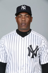 Feb 27, 2016; Tampa, FL, USA; New York Yankees relief pitcher Aroldis Chapman (54) poses for a photo during photo day at George M. Steinbrenner Field. Mandatory Credit: Kim Klement-USA TODAY Sports