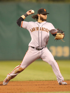 Aug 21, 2015; Pittsburgh, PA, USA; San Francisco Giants shortstop <a rel=