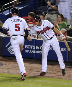 Oct 4, 2013; Atlanta, GA, USA; Atlanta Braves first baseman <a rel=