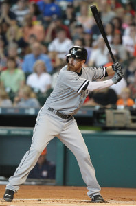 May 31, 2015; Houston, TX, USA; Chicago White Sox designated hitter Adam LaRoche (25) bats against the Houston Astros at Minute Maid Park. Chicago won 6 to 0. Mandatory Credit: Thomas B. Shea-USA TODAY Sports