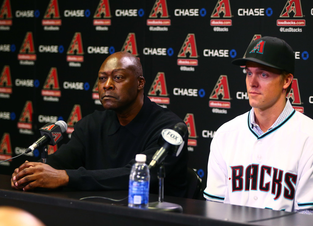 Dec 11, 2015; Phoenix, AZ, USA; Arizona Diamondbacks general manager Dave Stewart (left) alongside pitcher Zack Greinke during a press conference at Chase Field . Mandatory Credit: Mark J. Rebilas-USA TODAY Sports