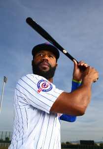Feb 29, 2016; Mesa, AZ, USA; Chicago Cubs outfielder Jason Heyward poses for a portrait during photo day at Sloan Park. Mandatory Credit: Mark J. Rebilas-USA TODAY Sports
