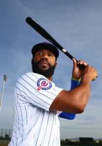 Feb 29, 2016; Mesa, AZ, USA; Chicago Cubs outfielder Jason Heyward poses for a portrait during photo day at Sloan Park. Mandatory Credit: Mark J. Rebilas-USA TODAY Sports