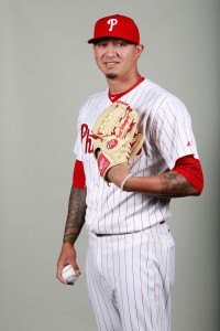 Feb 26, 2016; Clearwater, FL, USA; Philadelphia Phillies relief pitcher Vincent Velasquez (28) poses for a photo during photo day at Bright House Field. Mandatory Credit: Kim Klement-USA TODAY Sports