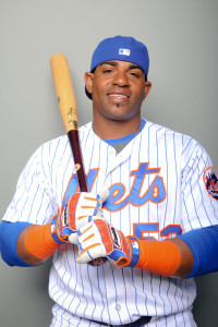 Mar 1, 2016; Port St. Lucie, FL, USA; New York Mets left fielder Yoenis Cespedes (52) poses for a portrait at Tradition Field. Mandatory Credit: Steve Mitchell-USA TODAY Sports