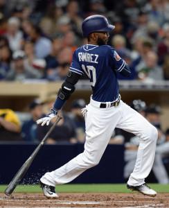 Apr 1st, 2016; San Diego, CA, USA; San Diego Padres shortstop Alexei Ramirez (10) follows through against the Chicago White Sox at Petco Park. Mandatory Credit: Jake Roth-USA TODAY Sports