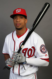 Feb 28, 2016; Viera, FL, USA; Washington Nationals outfielder Ben Revere (9) poses for a photo during media day at Space Coast Stadium. Mandatory Credit: Logan Bowles-USA TODAY Sports