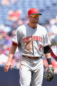 May 3, 2015; Atlanta, GA, USA; Cincinnati Reds shortstop Zack Cozart (2) leaves the game against the Atlanta Braves after sustaining a cut to his right hand while fielding a ground ball during the seventh inning at Turner Field. The Braves defeated the Reds 5-0. Mandatory Credit: Dale Zanine-USA TODAY Sports