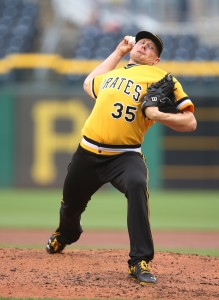 Jul 24, 2016; Pittsburgh, PA, USA; Pittsburgh Pirates relief pitcher Mark Melancon (35) pitches against the Philadelphia Phillies during the ninth inning at PNC Park. The Pirates won 5-4. Mandatory Credit: Charles LeClaire-USA TODAY Sports