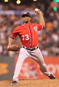 Aug 15, 2015; San Francisco, CA, USA; Washington Nationals relief pitcher Felipe Rivero (73) throws the ball against the San Francisco Giants during the sixth inning at AT&T Park. Mandatory Credit: Kelley L Cox-USA TODAY Sports
