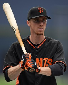 May 18, 2016; San Diego, CA, USA; San Francisco Giants third baseman Matt Duffy (5) looks on before the game against the San Diego Padres at Petco Park. Mandatory Credit: Jake Roth-USA TODAY Sports