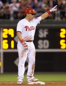 Jul 16, 2016; Philadelphia, PA, USA; Philadelphia Phillies catcher Carlos Ruiz (51) reacts after a double during the eighth inning against the New York Mets at Citizens Bank Park. The Philadelphia Phillies won 4-2. Mandatory Credit: Bill Streicher-USA TODAY Sports