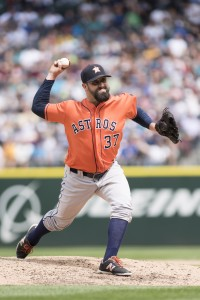 Jul 16, 2016; Seattle, WA, USA; Houston Astros relief pitcher Pat Neshek (37) pitches to the Seattle Mariners during the sixth inning at Safeco Field. Mandatory Credit: Steven Bisig-USA TODAY Sports