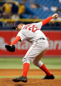Aug 25, 2016; St. Petersburg, FL, USA; Boston Red Sox relief pitcher Brad Ziegler (29) throws a pitch against the Tampa Bay Rays at Tropicana Field. Tampa Bay Rays defeated the Boston Red Sox 2-1. Mandatory Credit: Kim Klement-USA TODAY Sports