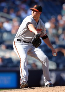 Aug 28, 2016; Bronx, NY, USA; Baltimore Orioles relief pitcher Zach Britton (53) pitches against the New York Yankees during the ninth inning at Yankee Stadium. Mandatory Credit: Brad Penner-USA TODAY Sports