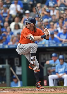 Jun 26, 2016; Kansas City, MO, USA; Houston Astros left fielder Colby Rasmus (28) at bat against the Kansas City Royals during the seventh inning at Kauffman Stadium. Mandatory Credit: Peter G. Aiken-USA TODAY Sports