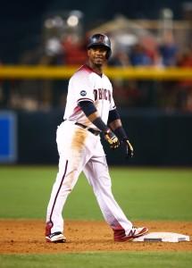 Aug 15, 2016; Phoenix, AZ, USA; Arizona Diamondbacks second baseman Jean Segura reacts after hitting a double against the New York Mets at Chase Field. Mandatory Credit: Mark J. Rebilas-USA TODAY Sports