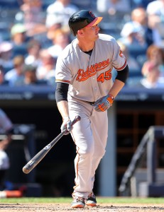 Aug 28, 2016; Bronx, NY, USA; Baltimore Orioles designated hitter Mark Trumbo (45) hits a two run home run against the New York Yankees during the eighth inning at Yankee Stadium. Mandatory Credit: Brad Penner-USA TODAY Sports