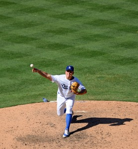 Aug 13, 2016; Los Angeles, CA, USA; Los Angeles Dodgers relief pitcher Joe Blanton (55) pitches during the seventh inning against the Pittsburgh Pirates at Dodger Stadium. Mandatory Credit: Jake Roth-USA TODAY Sports