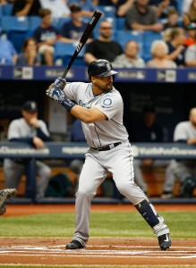 Jun 16, 2016; St. Petersburg, FL, USA; Seattle Mariners right fielder Franklin Gutierrez (21) at bat against the Tampa Bay Rays at Tropicana Field. Mandatory Credit: Kim Klement-USA TODAY Sports