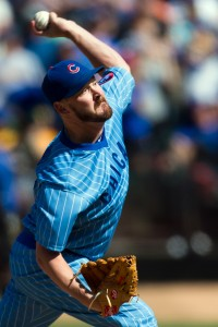 Aug 6, 2016; Oakland, CA, USA; Chicago Cubs relief pitcher Travis Wood (37) pitches against the Oakland Athletics in the ninth inning at O.co Coliseum. The Cubs won 4-0. Mandatory Credit: John Hefti-USA TODAY
