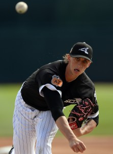Feb 28, 2017; Phoenix, AZ, USA; Chicago White Sox starting pitcher Michael Kopech (78) pitches against the Seattle Mariners during the first inning at Camelback Ranch. Mandatory Credit: Joe Camporeale-USA TODAY Sports