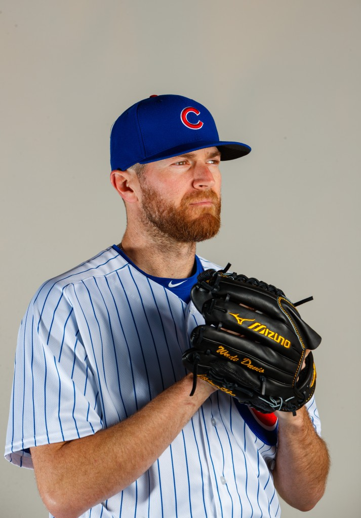 Feb 21, 2017; Mesa, AZ, USA; Chicago Cubs pitcher Wade Davis poses for a portrait during photo day at Sloan Park. Mandatory Credit: Mark J. Rebilas-USA TODAY Sports