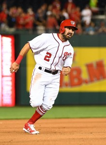 Apr 5, 2017; Washington, DC, USA; Washington Nationals center fielder Adam Eaton (2) scores from first base on a double by right fielder Bryce Harper against the Miami Marlins during the fourth inning at Nationals Park. Mandatory Credit: Brad Mills-USA TODAY Sports